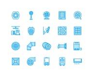 Ligne plate icônes d'équipement de ventilation Climatisation, appareils de refroidissement, ventilateur d'extraction Ménage et in Photos libres de droits