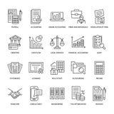 Ligne plate icônes de comptabilité financière Comptabilité, optimisation d'impôts, dissolution ferme, externalisation de comptabl illustration libre de droits