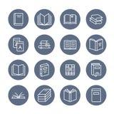 Ligne plate icônes de livres Lecture, bibliothèque, illustrations d'éducation de littérature Signes minces pour le magasin d'eBoo illustration libre de droits