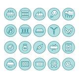Ligne plate icônes de matelas orthopédique Propriétés de matelas - anti acarides de la poussière, appui d'épine, couverture lavab illustration stock