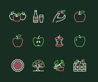 Ligne plate icônes de pommes Cueillette d'Apple, festival de récolte d'automne, illustrations de cidre de fruit de métier Signes  illustration libre de droits