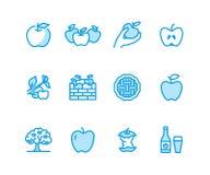 Ligne plate icônes de pommes Cueillette d'Apple, festival de récolte d'automne, illustrations de vecteur de cidre de fruit de mét illustration libre de droits