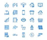 Ligne plate icônes de services collectifs  Louez le reçu, l'eau de l'électricité, gaz, le chauffage de maison, télévision en circ illustration stock