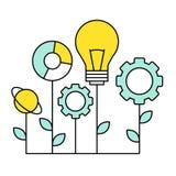 Ligne plate icône du marketing numérique, recherche de Image libre de droits