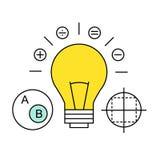 Ligne plate icône du marketing numérique, recherche de Images libres de droits