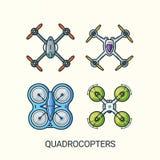 Ligne plate icônes détaillées de quadrocopters Image libre de droits