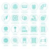 Ligne plate icônes d'équipement de ventilation Image libre de droits