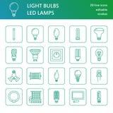 Ligne plate icônes d'ampoules Types de lampes, fluorescent menés, filament, halogène, diode et toute autre illumination Linéaire  illustration libre de droits