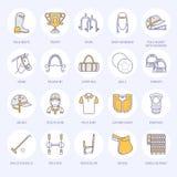 Ligne plate icônes de polo de cheval Dirigez l'illustration du jeu de sport de cheval, selle équestre d'équipement, bottes en cui Images libres de droits