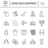 Ligne plate icônes de polo de cheval Dirigez l'illustration du jeu de sport de chevaux, équipement équestre - sellez, les bottes  Images libres de droits