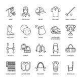 Ligne plate icônes de polo de cheval Dirigez l'illustration du jeu de sport de chevaux, équipement équestre - sellez, les bottes  Photos stock