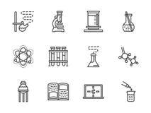 Ligne plate icônes de recherches de chimie Images stock