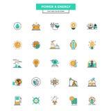Ligne plate icônes puissance et énergie de couleur Photos libres de droits