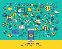 Ligne plate icônes réglées Éléments créatifs de conception pour des sites Web, mobi Images stock