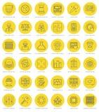 Ligne plate icônes simples réglées Course linéaire mince illustration de vecteur