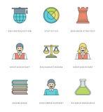 Ligne plate icônes simples réglées Symboles linéaires minces d'objets de bases de vecteur de course Photographie stock libre de droits