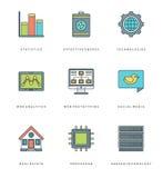 Ligne plate icônes simples réglées Symboles linéaires minces d'objets de bases de vecteur de course illustration stock