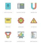 Ligne plate icônes simples réglées Symboles linéaires minces d'objets de bases de vecteur de course Photos stock