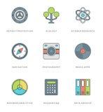 Ligne plate icônes simples réglées Symboles linéaires minces d'objets de bases de vecteur de course Image libre de droits