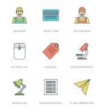 Ligne plate icônes simples réglées Symboles linéaires minces d'objets de bases de vecteur de course Photo libre de droits
