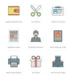 Ligne plate icônes simples réglées Symboles linéaires minces d'objets de bases de vecteur de course Images libres de droits