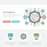 Ligne plate illustration de vecteur d'en-tête de site Web de concept d'affaires Image libre de droits