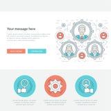 Ligne plate illustration de vecteur d'en-tête de site Web de concept d'affaires Photographie stock