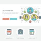 Ligne plate illustration de vecteur d'en-tête de site Web de concept d'affaires Image stock