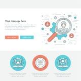 Ligne plate illustration de vecteur d'en-tête de site Web de concept d'affaires Images stock