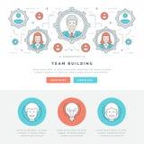 Ligne plate illustration de vecteur d'en-tête de site Web de concept d'affaires Icônes linéaires minces modernes de vecteur de co Images libres de droits