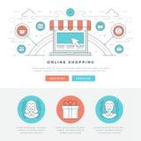 Ligne plate illustration de vecteur d'en-tête de site Web de concept d'affaires Icônes linéaires minces modernes de vecteur de co Image stock