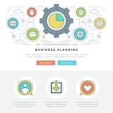 Ligne plate illustration de vecteur d'en-tête de site Web de concept d'affaires Icônes linéaires minces modernes de vecteur de co Image libre de droits