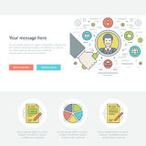 Ligne plate illustration de vecteur d'en-tête de site Web de concept d'affaires Icônes linéaires minces modernes de vecteur de co Photos stock