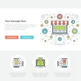 Ligne plate illustration de vecteur d'en-tête de site Web de concept d'affaires Icônes linéaires minces modernes de vecteur de co Images stock