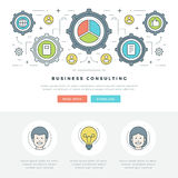 Ligne plate illustration de vecteur d'en-tête de site Web de concept d'affaires Icônes linéaires minces modernes de vecteur de co Photos libres de droits