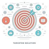Ligne plate illustration de vecteur de concept d'affaires Icônes linéaires minces modernes de vecteur de course Images stock