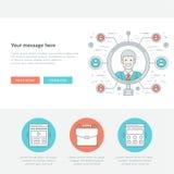 Ligne plate illustration de vecteur de concept des employés de recherche Photographie stock