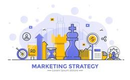 Ligne plate illustration moderne de concept - stratégie marketing Images stock
