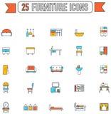 Ligne plate intérieur de meubles de couleur et d'appareil ménager Photo stock