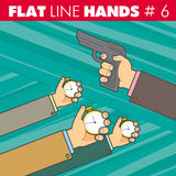 Ligne plate mains 6 Photos libres de droits