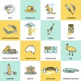 Ligne plate réglée par icônes d'Australie illustration libre de droits