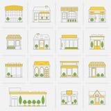 Ligne plate réglée par icônes de bâtiment de magasin Photographie stock