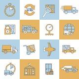 Ligne plate réglée par icônes de la livraison Image stock