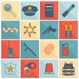 Ligne plate réglée par icônes de police Image stock