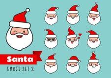 Ligne plate simple ensemble de bande dessinée de vecteur d'emoji de Santa Claus mignon et Photographie stock libre de droits