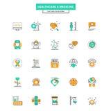 Ligne plate soins de santé et médecine d'icônes de couleur Images libres de droits