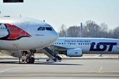Ligne plate Travel Service à l'aéroport à Varsovie Photos libres de droits
