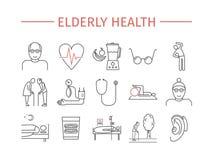 Ligne pluse âgé icônes de santé réglées Conception de vecteur de bande dessinée de retraite Infographics de vecteur illustration libre de droits