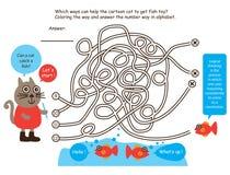 Ligne poisson de jeu de labyrinthe de découverte de chat Image libre de droits