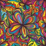 Ligne polychrome modèle sans couture de feuille de fleur Images libres de droits